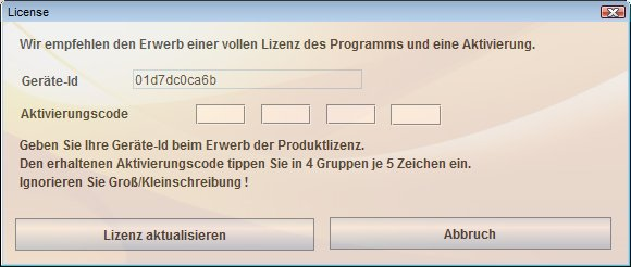 SafeCase PC license activation panel