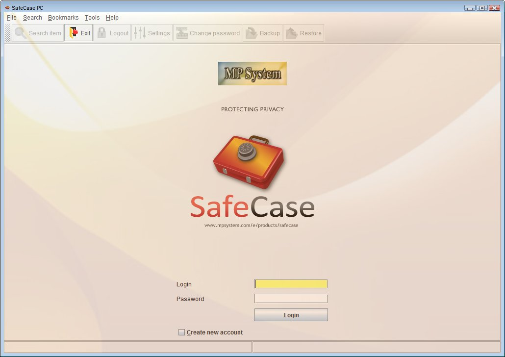 SafeCase PC login panel